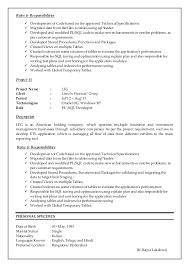 Pl Sql Developer Resumes Meloyogawithjoco Gorgeous Resume For Oracle Developer