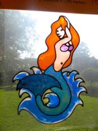 mermaid red hair sea life suncatcher window sticker decal stained glass style
