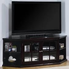 espresso finish modern corner tv stand w glass doors  shelves