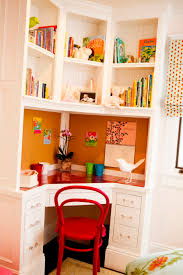 furniture, Cozy Desk Plus Floating Shelfs And Cute Drawer Closed Red Chair  As Decorating Corners
