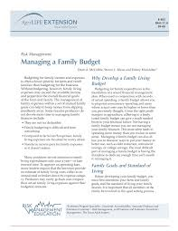 Family Budget For A Month Pdf Managing A Family Budget