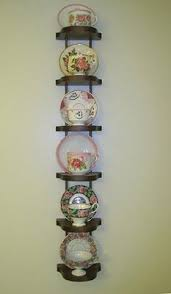 Tea Set Display Stand For Sale Display Of Tea Cups In Vintage Looking Framed Wall Display STYLE 9