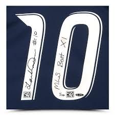 landon donovan signed mls best xi inscribed l a galaxy away jersey framed enlarged
