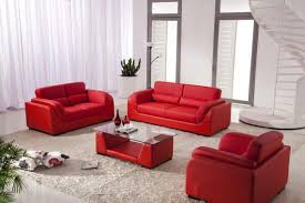 Red Leather Living Room Sets Unique Fan With Light Brightening Cozy Red Sofa Set Living Room
