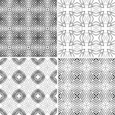 Seamless wireframe geometric patterns royalty free vector clip art