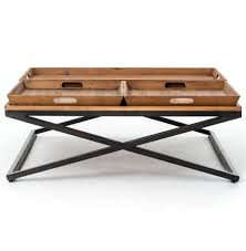 jaxon trio tray top wood iron industrial square coffee table kathy kuo home view full size