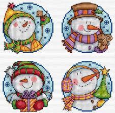 Счастливые снеговики | Модели стежков, <b>Вышивка</b> крестиком ...
