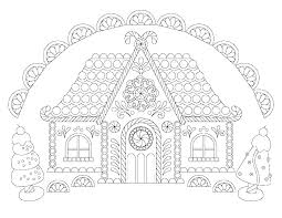 Farm House Coloring Pages Of Houses Christmas Gingerbread Page