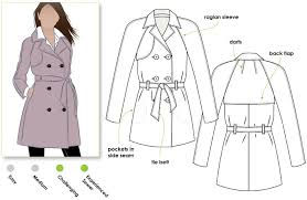 prue trench sewing pattern by style arc all weather double ted trench coat