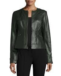 neiman marcuscollarless zip front lambskin leather jacket hunter green