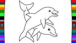 Animal Coloring Pages | How to Draw Dolphin | Learn Animals for ...