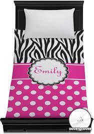 zebra print polka dots duvet cover personalized