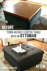 coffee table into ottoman take an ugly coffee table and transform it into a ottoman save