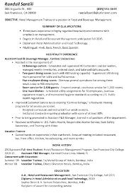 Resume Sample Hotel Management Trainee In Hospitality Management