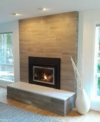 modern brick fireplace porcelain tile clad solid surface slab on top clean