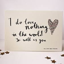 william shakespeare love card with quote