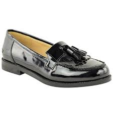 womens las flat casual office patent faux leather