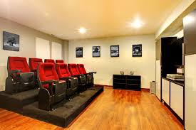 Small home theater with stadium seating for 8 people