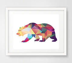 colorful geometric bear wall art print on geometric bear wall art with woodland animal art bear print art posters bear nursery decor