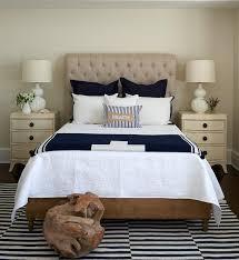 cozy blue black bedroom bedroom. Burlap Tufted Headboard With Cream French Nightstands Cozy Blue Black Bedroom O