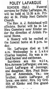 Obituary for POLEY LAFARGUE KINDER (Aged 66) - Newspapers.com