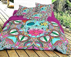 skull bed set king skulls duvet cover bedroom blue sugar skull bedding set with cotton sheet and matching two pillow skulls duvet cover