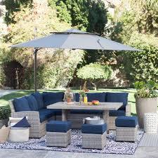 resin wicker outdoor furniture set. belham living brookville 6 piece all weather wicker sofa sectional patio dining set - resin outdoor furniture
