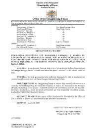 Request To Gov Casimiro Ynares Iii For The Construction Of