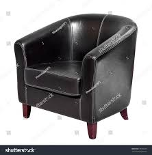 black leather armchair with round back and short wooden legs isolated on white background