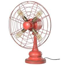 a rustic red distress finish fabulous modern desk fan complete with 4 bulbs dimensions