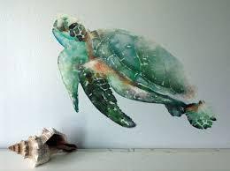 sea turtle wall decal watercolor wall