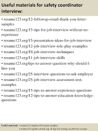 Safety Coordinator Resume. entry level project manager resume .