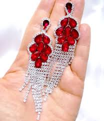 red austrian crystal chandelier earrings rhinestone bridal prom pageant 4 2 inch