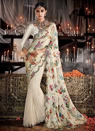 Stunning Designer Sarees Stunning Satin Cream Designer Saree