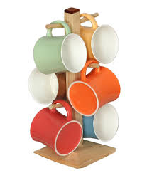 tibros multicoloured bone china mugs with wooden stand pack of 6
