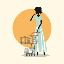 Premium Vector | Woman vintage fashion shopping cart retro style