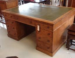 victorian solid oak twin pedestal london made partners desk with leather top