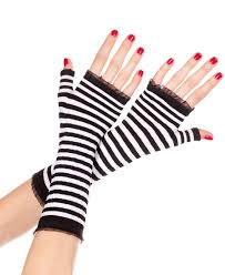 Striped gloves black white