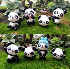 8pcs lot cute panda figurine miniature statue decoration mini fairy garden cartoon character animal resin