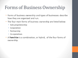 types of business ownerships unit 1 introduction to business forms of business ownership ppt