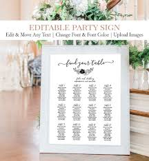 Simple Wedding Seating Chart Sign C4