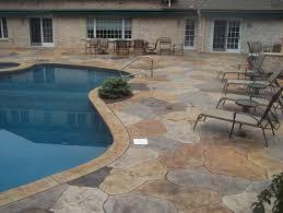 stamped concrete pool patio. Multi Colored Stamped Concrete Pool Deck. Patio And Stairs