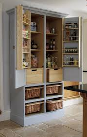 furniture stand alone light gray wooden pantry cabi with open dish cabinet on wall in kitchen