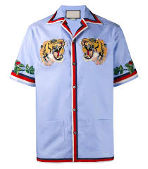 Blue Button Designs Indie Designs Tiger Embroidered Bowling Shirt Bowling