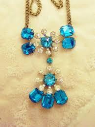 save this item for viewing later view larger image vintage aquamarine pot metal aquamarine rhinestone pendant necklace