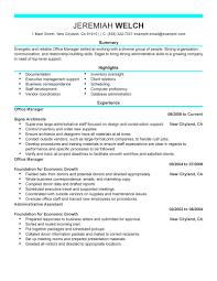 Resume Template Sample Office Manager Resume Free Career Resume