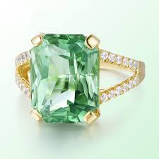 Light Green Stone Rings Luxury Big Irregular Light Green Stone Cut Engagement Ring Covered With Rose Gold Color Ring For Women Wedding Party Ring