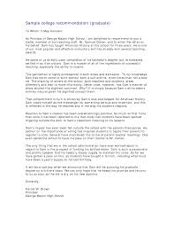 sample recommendation letter for graduate school letter format  sample recommendation