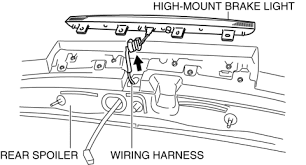 mazda 3 service manual high mount brake light removal pull out the wiring harness from the rear spoiler