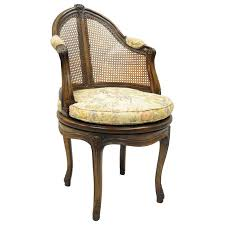 french country louis xv style swivel vanity chair cane back boudoir seat walnut for